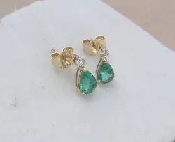 Pear Emerald And Diamond Tops