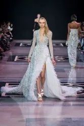 Embroidered Red Carpet Embellished Luxury Dress, Dry clean