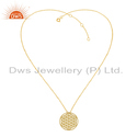 Round Filigree Design Gold Plated Plain Silver Chain Pendant Necklace