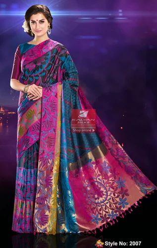 f0bdf65bf73c2 Floral Worked Black Soft Silk Saree at Rs 12690  piece