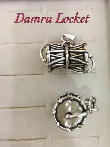Designer Damru Silver Pendant