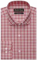Charles Dino Regular Pink Checkered Shirt for Casual Wear