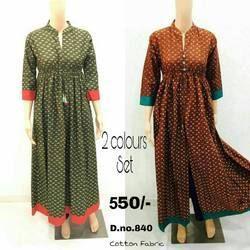 Cotton 3/4th Sleeve Designer Stylish Long Anarkali Kurti