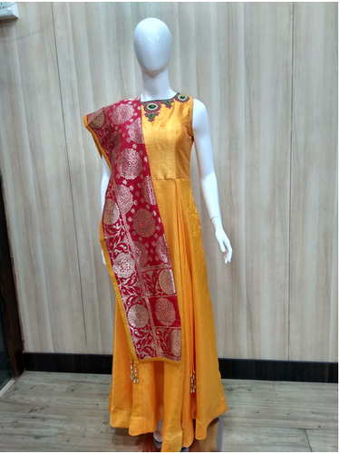 Ladies Yellow Ready Made Suit