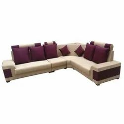 Modern L Shaped Wooden Sofa Set For Residential, Back Style: Cushion ...