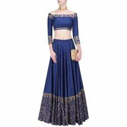 007ccb8d6089c Ladies Silk Embroidery 3 4 Sleeves Blue Designer Lehenga