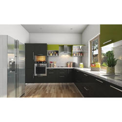 Brown L Shape Modular kitchen