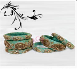 Green And Golden Zardosi bangles