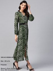 Animal Print Maxi Dress with Embellished Belt