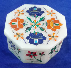 Marble Inlay Octagonal Box