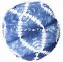 Tie Dye Shibori Round Cushion Cover With Pom Pom Natural Dyed 16 Inches Round Pillow Cover