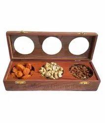Wooden Decorative Brown Dryfruit Box