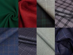 Plain And Check Woolen Uniform Fabric, 100-150 Gsm