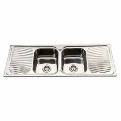 Mirror Finish Double Bowl Sink With Drainboard
