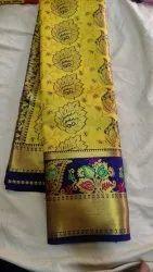Zari work saree Party Wear Imitation Silk Sarees, With blouse piece, 5.5 m with blouse