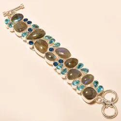 Women Elegant Design Rutilated Quartz Gemstone Silver Adjustable Bracelet