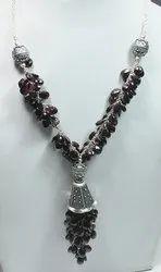 925 Sterling Silver Garnet High End Furnished Necklaces