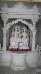 White Indoor Marble Temple with Ram & Sita Moorti, for Workshop