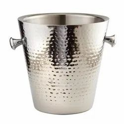 Stainless Steel Hammered Double Wall Wine Cooler Champagne Bucket