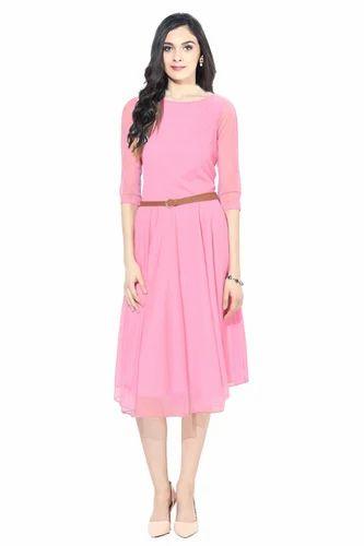 New Pink Net Designer Western Dress