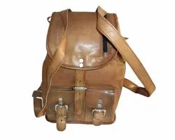 Brown HV Genuine Leather Retro Rucksack Backpack