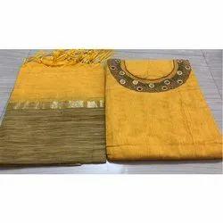 Cotton Semi-Stitched Ladies Designer Suit, Machine wash