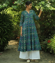 Blue And Sea Green Floral Printed Cotton Anarkali Kurta
