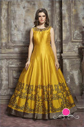 Yellow Malbati Silk With Fancy Printed Anarkali Floor Length Gowns