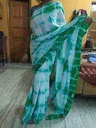 Printed Cotton Tye & Dye Saree With Blouse Piece