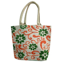 White Common Flower Jute Ladies Bag