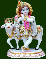 Marble Krishna Statue With Cow