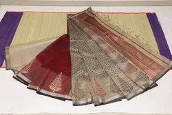 Casual Wear Printed Maheshwari Sarees with Blouse Piece