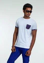 Cotton Plain Stylish Pocket Half Sleeve T Shirt, Size: Small, Medium, Large, XL
