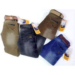 Boys Printed Stretchable Denim Jeans, Size: 32 - 40