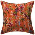 Kantha Printed Living Room Bird Cotton Cushion Cover