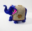 Blue Home Decorative Metal Meena Elephant With Stone Work