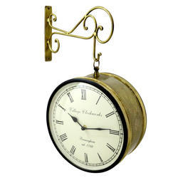 Indian Handmade Decorative Wall Railway Clock Brass Color