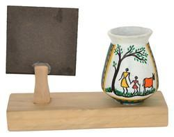RURALSHADES Terracotta Warli Pen Stand with Customised Quote