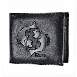 Pieces Zodiac Sign Embossed Black Mens Leather Wallet
