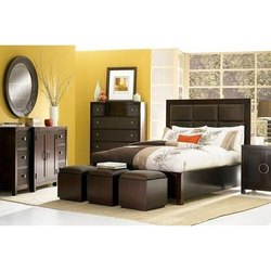 Cherry Wood Brown Bedroom Furniture Set