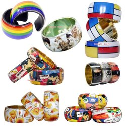 Wide Printed Comic Art and Personalized Art Bracelet Bangles