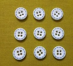 White Polyester Chalk Button