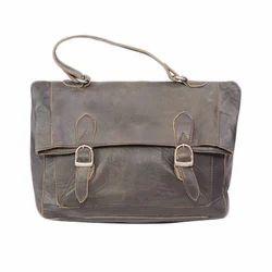 Brown Plain Leather Hand Bag