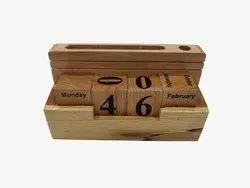 Wooden Desktop Pen Stand MN054 With Card Holder & Calender, For Office