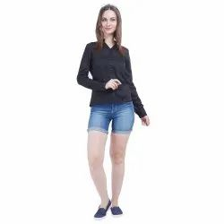 Plain Glamzers Ladies Black Shirt, Size: XS-XXL