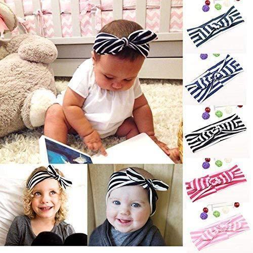 Smartcraft Multicolors Stripes Knot Bow Headband-Kids Hairband Striped  Rabbit Ear Turban Headband Knot Head 7584b636e68