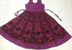 Ladies Cotton Jaipuri Block Print Knee Length Frock