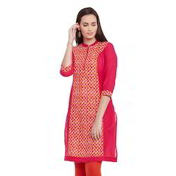 Printed Red Cotton Kurti
