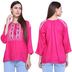 Ladies Rayon Embroidered Top