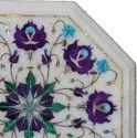 White Marble Table Tops With Exclusive Inlay Work